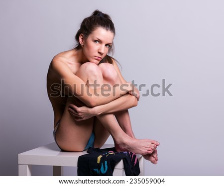 picture of healthy naked woman - stock photo