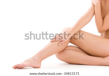 picture of healthy naked woman legs over white - stock photo