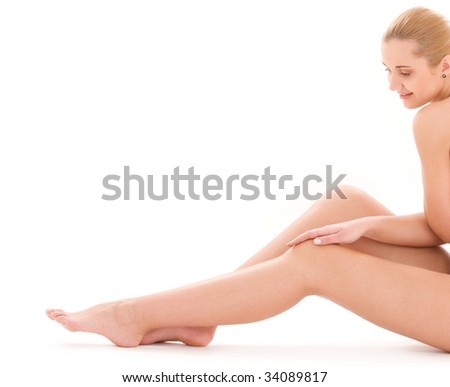 picture of healthy naked woman over white - stock photo