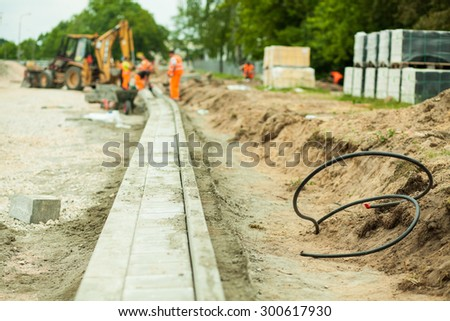 Picture of highway construction zone in the city - stock photo