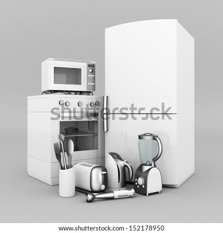 picture of household appliances on a gray background - stock photo