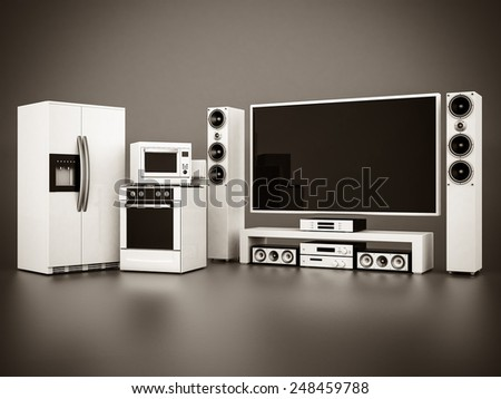 picture of household appliances on a gray background. black and white - stock photo