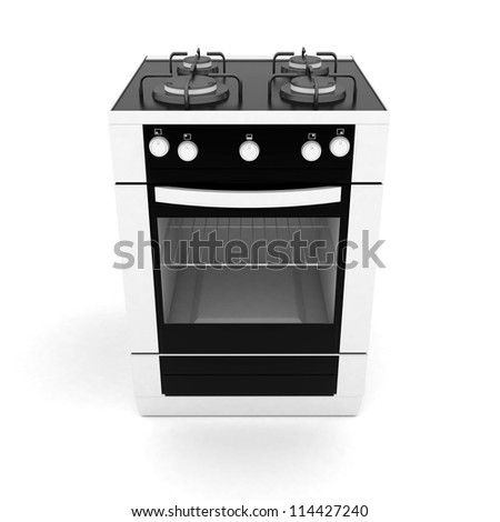 picture of household appliances on a white background - stock photo