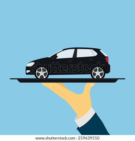 picture of human hand holding tray with car, flat style illustration - stock photo
