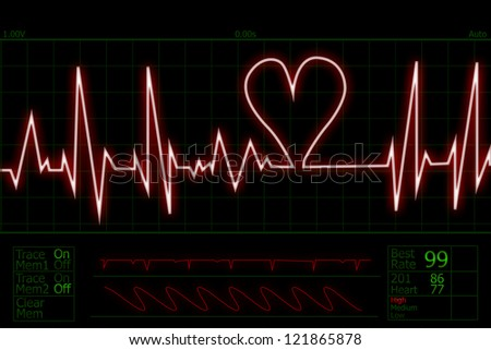 Picture of human pulse with heart shape beat - stock photo