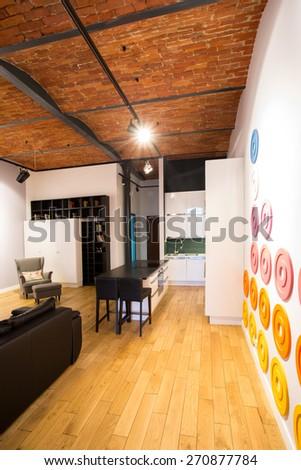 Picture of interesting interior in contemporary designed home - stock photo