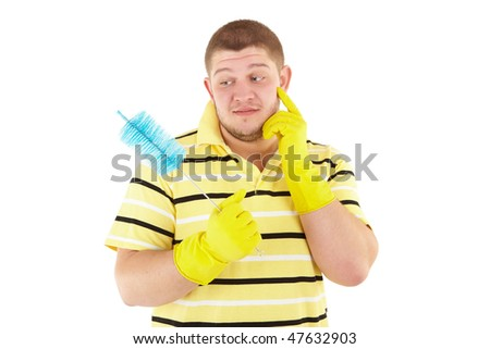 Picture of joyful  professional cleaner. Iisolated over white. - stock photo