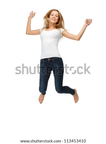 picture of jumping teenage girl in blank white t-shirt