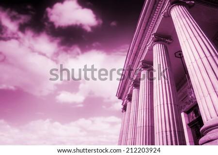 Picture of large greek freestone columns . - stock photo
