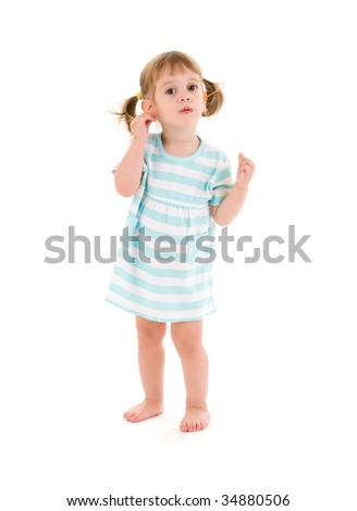 picture of little girl with cotton sticks over white