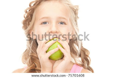 picture of little girl with green apple
