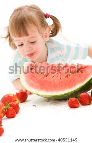 picture of little girl with strawberry and watermelon