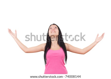 Picture of lovely girl showin - stock photo