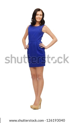 picture of lovely woman in blue dress - stock photo