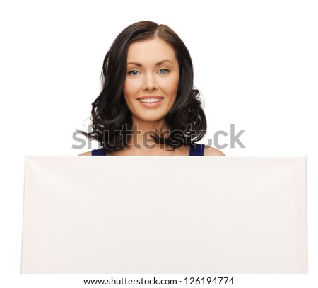 picture of lovely woman in blue dress with blank board
