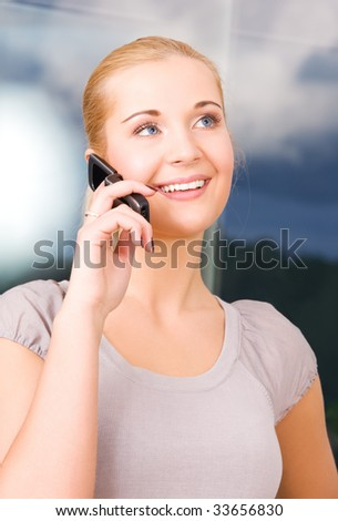 picture of lovely woman with cell phone