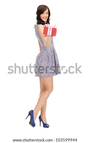 picture of lovely woman with gift box