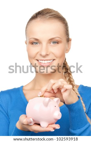 picture of lovely woman with piggy bank and money
