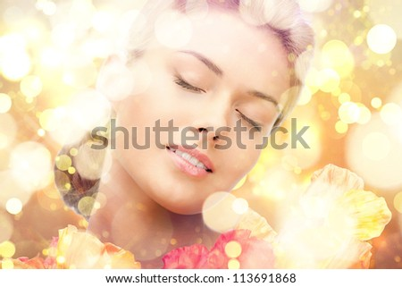 picture of lovely woman with red flowers - stock photo