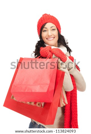 picture of lovely woman with shopping bags..