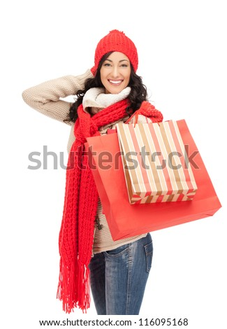 picture of lovely woman with shopping bags.. - stock photo