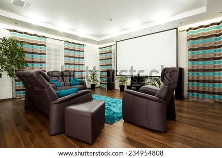 Picture of luxury family room with movie at home