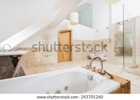 Picture of luxury marble space bathroom - stock photo