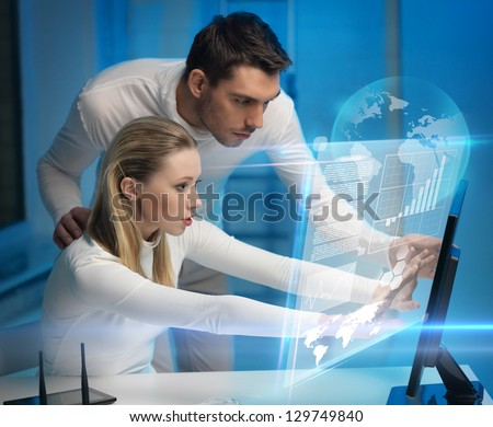 picture of man and woman in space laboratory - stock photo