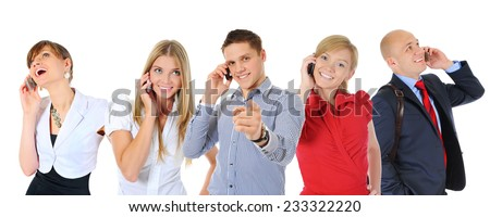 picture of man and woman with cell phones. Isolated on white background - stock photo