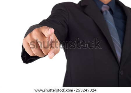 picture of man hand pointing at something . isolated over white background - stock photo