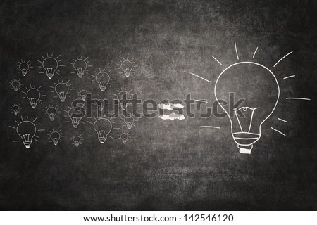 Picture of many small light bulbs equal big lightbulb - stock photo