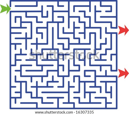 Picture of maze with two exits but only one solution