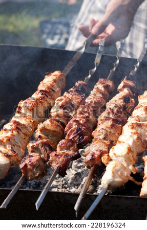 Picture of meat cooking on barbeque grill