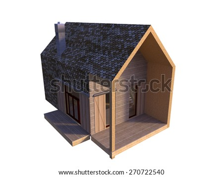 Picture of modern architecture, isolated house top perspective, 3D rendering