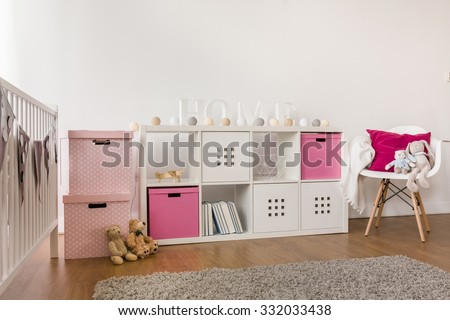 Picture of modern kids storage furniture in baby room - stock photo