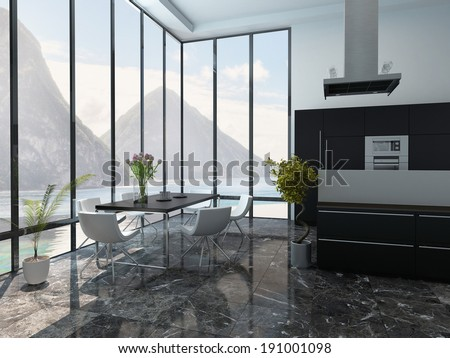 Picture of modern kitchen and dining room interior - stock photo