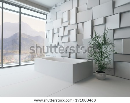 Picture of modern luxury bathroom interior with bathtub against mosaic tile wall - stock photo