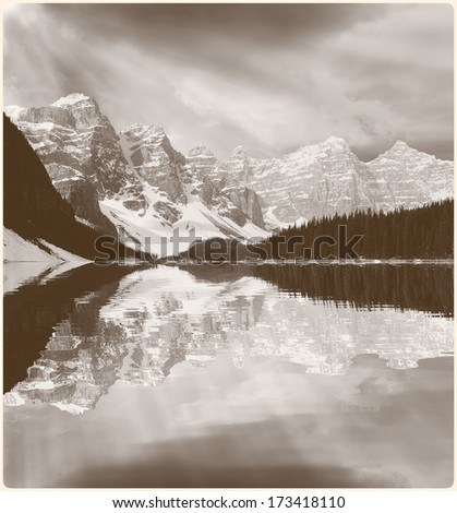 Picture of Moraine lake in vintage style. Banff National park. Canadian Rockies.  - stock photo