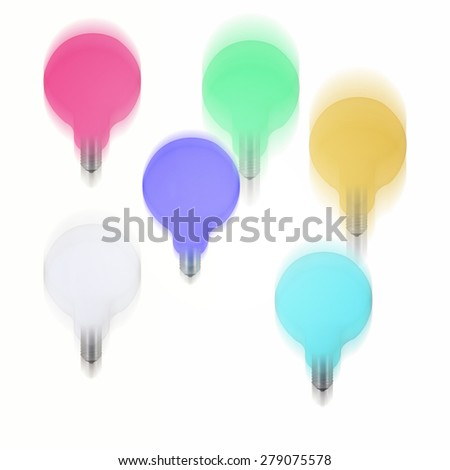 Picture of multicolor bulbs falling. - stock photo
