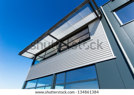 picture of new building and blue sky - stock photo