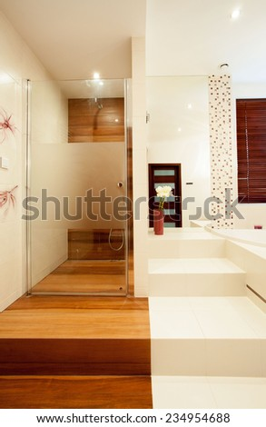 Picture of new stylish shower in luxury house