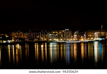 Picture of nightscene in Bergen city with lots of colours