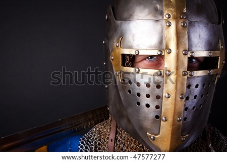 picture of noble knight wearing helmet - stock photo