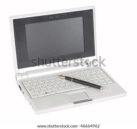 Picture of notebook and pen on a white background