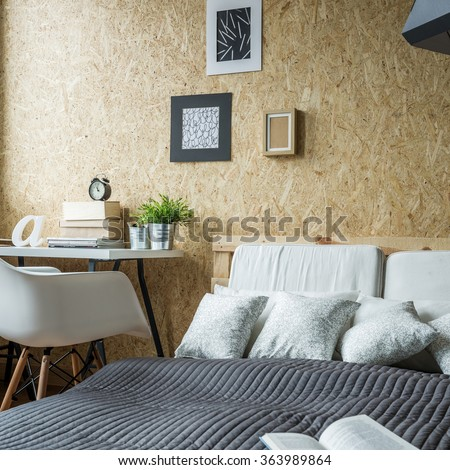 Picture of open book on the bed - stock photo