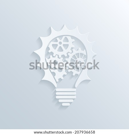 picture of paper lightbulb with gears and cogs inside, creativity teamwork and business concept - stock photo