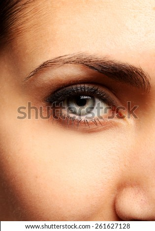 Picture of pretty woman's eye close up - stock photo