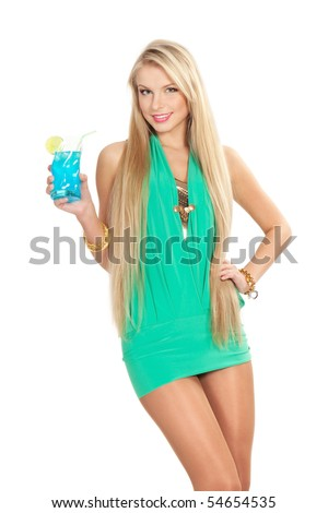 picture of pretty woman with cocktail - stock photo