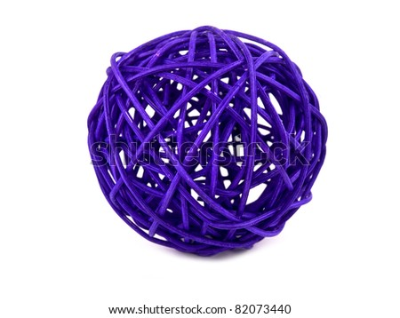 Picture of purple rattan ball on white background - stock photo