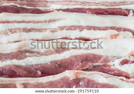 Picture of raw pork belly for cooking preparation